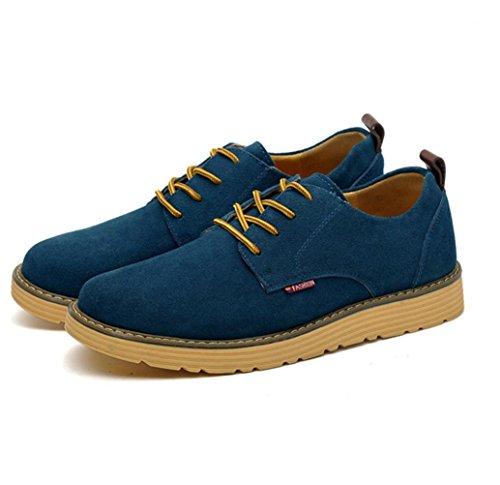 Heart&M pelle scamosciata uomo casual in vera pelle grandi dimensioni scarpe skater days blue