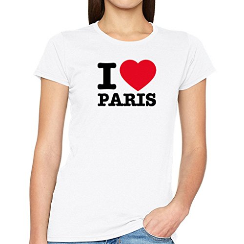 Wixsoo t-shirt donna i love paris parigi capitale francia città ricordo moda stile maglia maglietta (s)