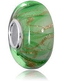 Materia objetos de cristal de murano beads verde blanco brillante Element - 925 de plata con cuentas de cristal de oro brillante #1613
