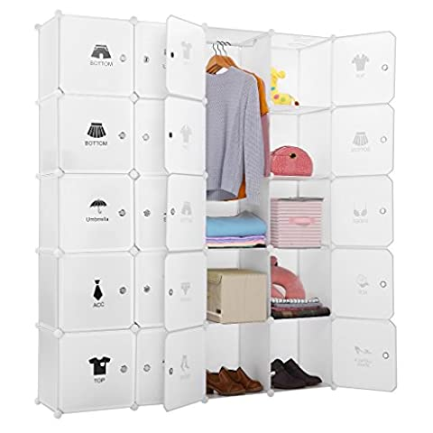LANGRIA 20 Cube Storage Unit Wardrobe Cube Organiser DIY Interlocking 4 Columns 5 Tiers with 20 Doors, Closet Rod and Stickers for Clothes Shoes Toys, 147*37*183 CM, Milky White