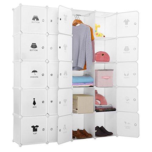 LANGRIA Armoire avec Penderie Modulable 20 Cubes avec Tige a Vêtements, Autocollants Divers pour Décor, Meuble Rangement (Blanc)