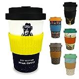 Morgenheld  Dein trendiger Bambusbecher | umweltfreundlicher Coffee-to-Go-Becher | nachhaltiger Kaffeebecher mit Schraubdeckel und Banderole in coolem Design 400 ml Füllmenge (Monkey_gelb)