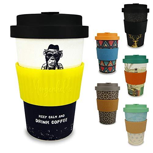 Morgenheld ☀ Dein trendiger Bambusbecher | umweltfreundlicher Coffee-to-Go-Becher | nachhaltiger Kaffeebecher mit Schraubdeckel und Banderole in coolem Design 400 ml Füllmenge (Monkey_gelb)