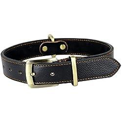 Rantow Cuero hechos a mano collar ajustable para los perros, del tamaño del cuello de 43 cm a 53 cm y 3 cm de ancho, resistente cuello de cuero Negro Medio / perros grandes