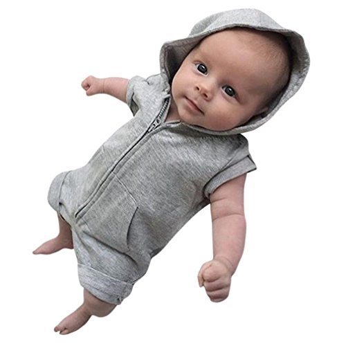 Prevently Baby-Overalls Baby-Tasche Kurzarm Kapuzen-Reißverschluss Overall Spielanzug Baby Jungen Mädchen Kleidung Solide Mit Kapuze Strampler Overall Sommer Outfits (Grau, 6-12 monate/90) - 9 Overall Monate