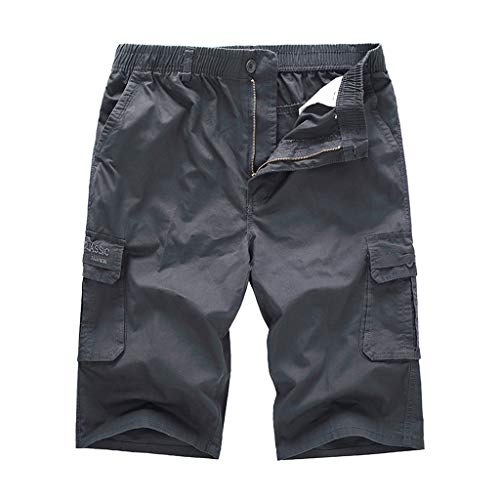 NEEKY Loose Shorts Men Männer Casual Freien Tasche Strand Arbeitshose Cargo Pure Color Shorts Pants Herren Bade Shorts Sommer(3XL,Grau)