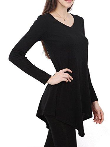Smile YKK Femme Couleur Pure Irrégulière T-Shirt à Manche Longue Vogue Pull Noir