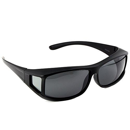 ACTIVE SOL Überzieh-Sonnenbrille für Herren | Sonnen-Überbrille UV400 | polarisiert | Fit-over Polbrille für Brillenträger (schwarz matt)