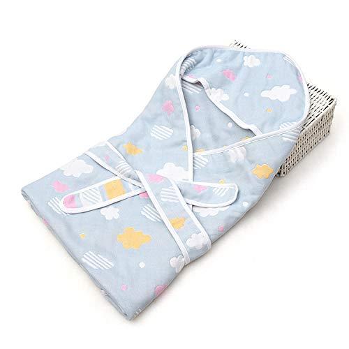 babydecke baumwolle,Newborn Quilt, 90 * 90 vier Lagen Gaze mit Hüfttuch @ Blue_clouds_90 * 90 -