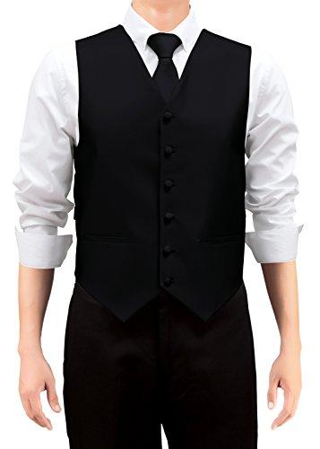 Retreez Gilet tissé de couleur unie pour homme avec cravate et nœud papillon Coffret cadeau Noir