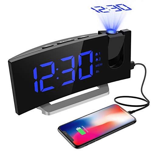 Projektionswecker, Mpow FM Radiowecker mit Projektion, 5\'\' LED-Anzeige, Digitaler Wecker, Reisewecker, Tischuhr, Dual-Alarm, 6 Helligkeit, 4 Alarmton mit 3 Lautstärke, 9 \' Snooze, Blau