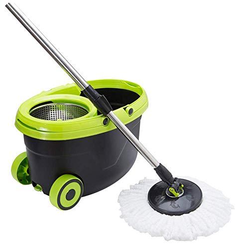 lquide Einziehbarer, schwenkbarer Mopp, Doppelrollen-Reinigungseimer für den Hausgebrauch. Kehrsets aus Edelstahl, geeignet für hart laminierte Holzfliesen