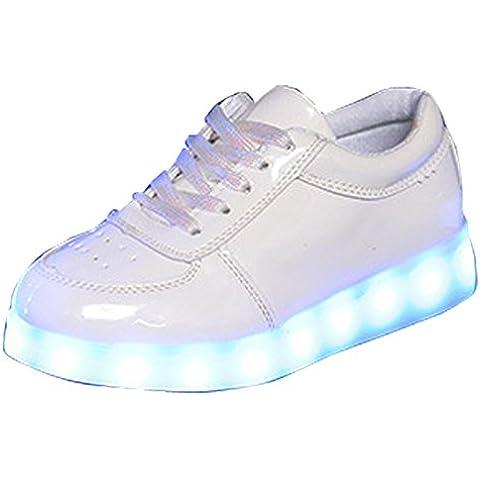 Gaorui Glowing Scarpe Unisex Bambino PU Pelle LED Luminoso Scarpe Sportive Stringata