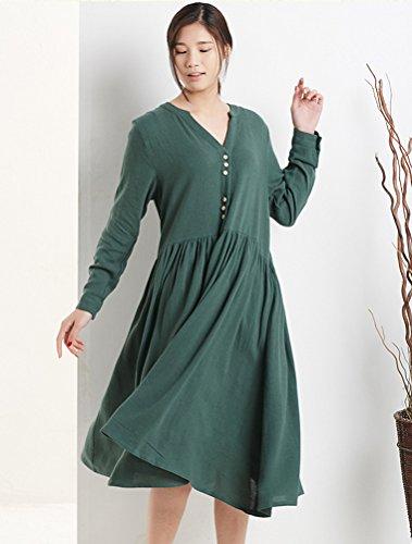 MatchLife Femme V-Cou Buton Robe Vert