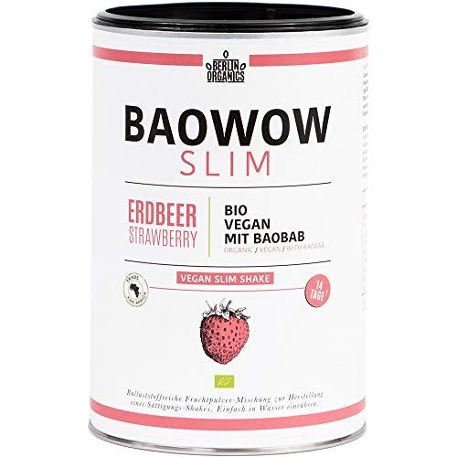 Berlin Organics - Baowow Slim Erdbeere - 100% Bio Abnehm-Shake - Ballaststoffreicher Diätshake zum Abnehmen