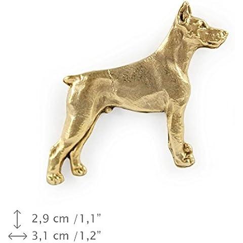 Dobermann, finezza millesimale 999, oro spilla di cane, ArtDog