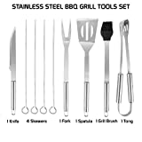 Nature Set of 6 BBQ Grill Tool Set Stainless Steel Grilling Utensils Barbecue