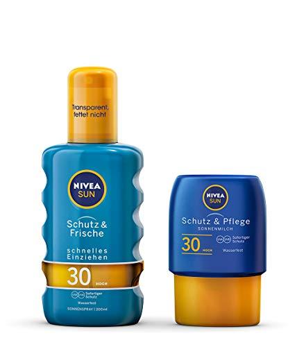 NIVEA Schutz & Frische Sonnenspray + gratis Reisegröße Sonnenmilch (1 x 200ml + 1 x 50ml), Sonnenspray mit LSF 30, wasserfeste Sonnenlotion - Feste Creme