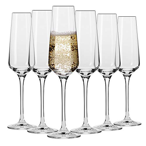 Krosno Sektgläser Champagner-Gläser Sektflöten | Set von 6 | 180 ML | Avant-Garde Kollektion | Proseccogläser | Perfekt für zu Hause Restaurants und Partys | Spülmaschinenfest und Mikrowellengeeignet (Champagner-set Von 6)