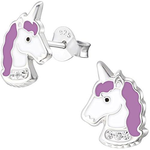 cker Einhorn 925 Sterling Silber Glitzer Kristalle lila weiß 11 x 8 mm Mädchen Ohrringe (Ein Mädchen Elf)