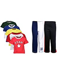 Gkidz Pack of 7 Boys Attitude 5Pack Tee & Boys 2Pack Fashion Full Pant Combo Pack