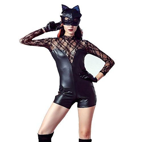 Wet Look Lackleder Kunstleder PVC Siamesisches Outfit Halloween Catwoman Kleidung Katzenmädchen Katzen-Outfit Kostüme, XL