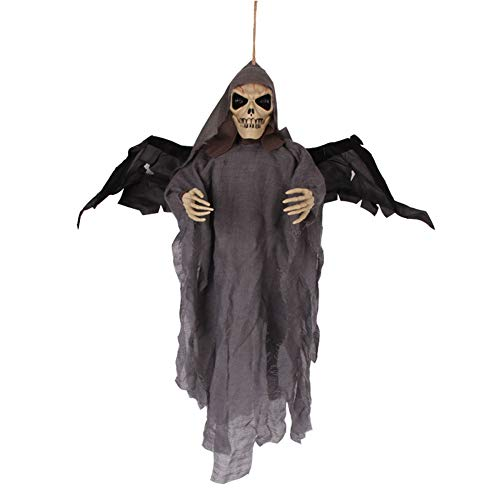 Halloween Hanging Ghost Dekoration Augen leuchten Fledermäuse Ghost Skeleton Scary Horror Sprachsteuerung Ghost Monster Outdoor Wings - Fledermaus Kostüm Grau Flügel