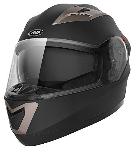 Motorradhelm Integralhelm Rollerhelm Fullface Helm – YEMA YM-829 Sturzhelm ECE mit Doppelvisier Sonnenblende für Damen Herren Erwachsene-Schwarz Matt-S - 2