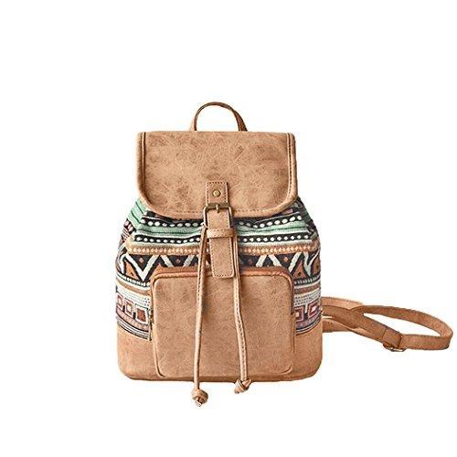 Amoyie Klassische Rucksackhandtaschen Klein, Leder und Baumwolle Freizeitrucksack, Mädchen Damen Taschen Rucksäcke für Schule, Einkaufen, Reise, Arbeit (Klassische Baumwolle)