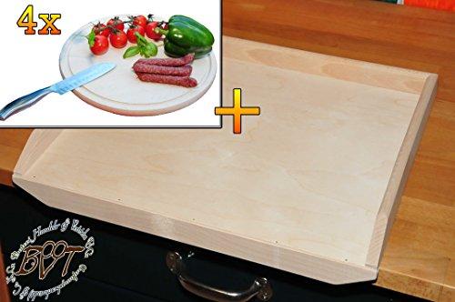 Picknickset, Holzbrettchen Hochwertiges, dickes ca. 16 mm Buche - SPÜLMASCHINENFEST '*' -Schnitzelklopfbrett natur, Maße viereckig ca. 38 cm x 51 cm & 4x Picknick-Grill-Holzbrett mit Rillung natur, groß, hochwertig, Buche - SPÜLMASCHINENFEST '*' , ca. 16 mm dick, mit abgerundeten Kanten, Maße rund je ca. 30 cm Durchmesser als Bruschetta-Servierbrett, Brotzeitbrett, Bayerisches Brotzeitbrettl, NEU Massive Schneidebretter