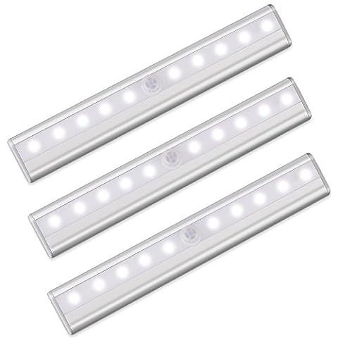 Lichtleiste mit Bewegungsmelder, Morpilot Schrankbeleuchtung LED Nachtlicht - Kabellos Wandschrank, Kabinett, Treppen Licht, Schublade, Schrank Licht, Auto On/Off Licht Stab(3 Pack)