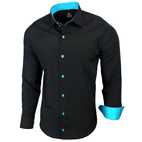 (Kontrast Business Anzug Freizeit Polo Slim Fit Figurbetont Hemd Langarmhemd R-44, Farbe:Schwarz / Türkis;Größe:2XL)