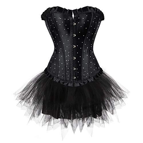 Pailletten Gothic Vollbrust Korsett Mit Tutu Kleid Fashionable Vintage Fashion Steampunk Waist Training Body Shaper Mieder Shapewear (Color : Schwarz, Size : 4XL/W94-98cm) ()