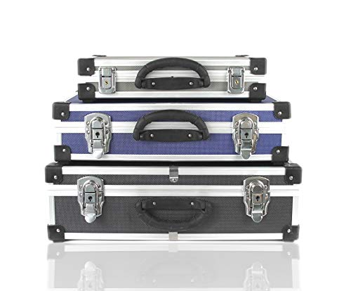 POINSETTIA 3-in-1 Alukoffer Aluminium Werkzeugkiste Alubox Werkzeugkoffer-Set 41.5x27.5x10.5cm Schwarz Silber Blau