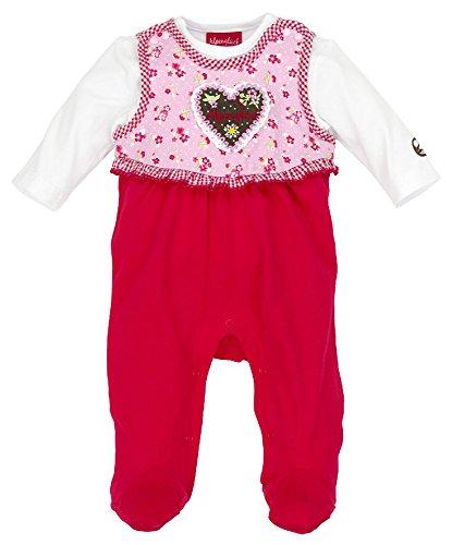 BONDI Baby Strampler ´Herz Alpenglück´ Rot Gr. 56 - Wunderschöner Babybody vom Markenhersteller BONDI Kidswear