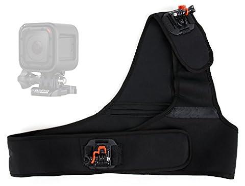 Harnais / fixation d'épaule pour GoPro Hero4 Session (Black & Silver CHDHS-101-EU) Caméra embarquée 8 Mpix Wifi Bluetooth - ajustable et garanti 5 ans par DURAGADGET