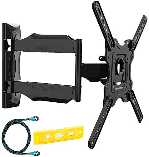 Invision® Support Murale TV Orientable et Inclinable - pour Les Écrans 4K, UHD, LCD, Plasma et Incurvés de 24 à 55 Pouces (61-140cm) - Max VESA 400x400mm - avec Câble HDMI 1.8m (HDTV-E)