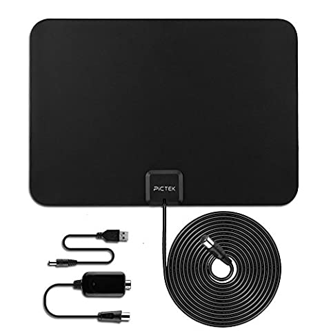 [Improved Edition] TV Aerial - Pictek Indoor TV Aerial Ultra-Thin Amplified 50 Miles Range Digital HDTV Antenna with Detachable Amplifier Signal B-ooster and 10ft Long Cable,