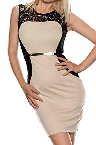 E-Girl femme Beige SY21670-1 Robe millésime Beige