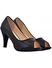 Shuberry Black Color Latest Collection, Comfortable & Fashionable Satin Occasion Lifestyle Stiletto Shoe For Women