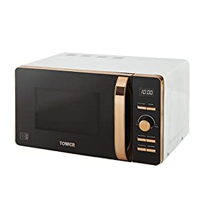 Tower Digital Solo Microwave with 6 Power Levels, 60 Minute Timer, Defrost Function, 800 W, 20 Litre, White and Rose Gold