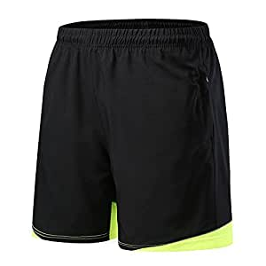 FELiCON Men's Sports Shorts Casual Gym Training Fitness Sweat Running Shorts Quick Drying Sports Internal Drawcord Shorts for Men with Drawstring Stretch Waist Zip Pockets (S, Black/Green2)