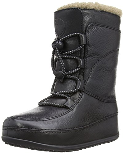 Fitflop Mukluk MOC Lace Up Leather, Damen Stiefel, Schwarz (Black) , 37 EU (4 UK) (Schwarz Mukluks)