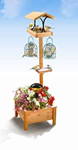 Genuine Pine Bird Table With Solar Tiffany Style Light and Planter Base