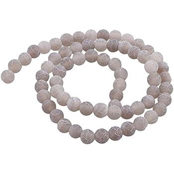 Naturstein Achat Perlen 6mm Frosted Grau Rund Edelsteine