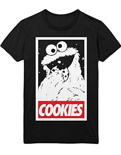 T-Shirt Cookie Monster COOKIES Sesame Street Hipster Sesam Straße Keks Monster C980015 Schwarz (Street Kostüm Grover Sesame)