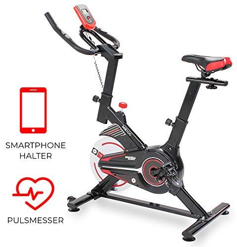 Miweba Sports Indoor Cycling MS100 Fitnessbike - 10 Kg Schwungmasse - Stufenfreie Widerstandsverstellung - Pulsmessung (Schwarz)