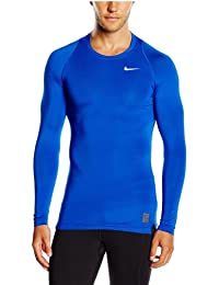 Nike Long Sleeve Pro Cool Compression Camiseta, Hombre, Azul/Blanco, S