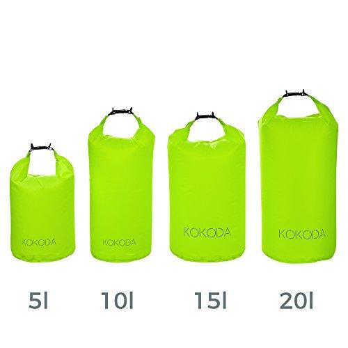 Kokoda Drybag Extra-Soft im Set 5 l, 10 l, 15 l, 20 l, Wasserdichter Beutel, Packsack Wasserdicht, Outdoortasche, Reisetasche – für Outdoor und Sport, Selbst Unter Extrembedingungen, aus 50D Nylon (Soft-snowboard-tasche)