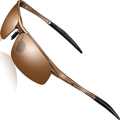 SIPLION Herren Sport Polarisierte Treiber Glasses Sonnenbrillen Al-Mg Metallrahme Ultra leicht 8177 Brown